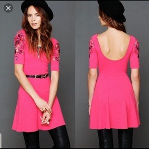Free People embroidered sleeves back scoop dress M